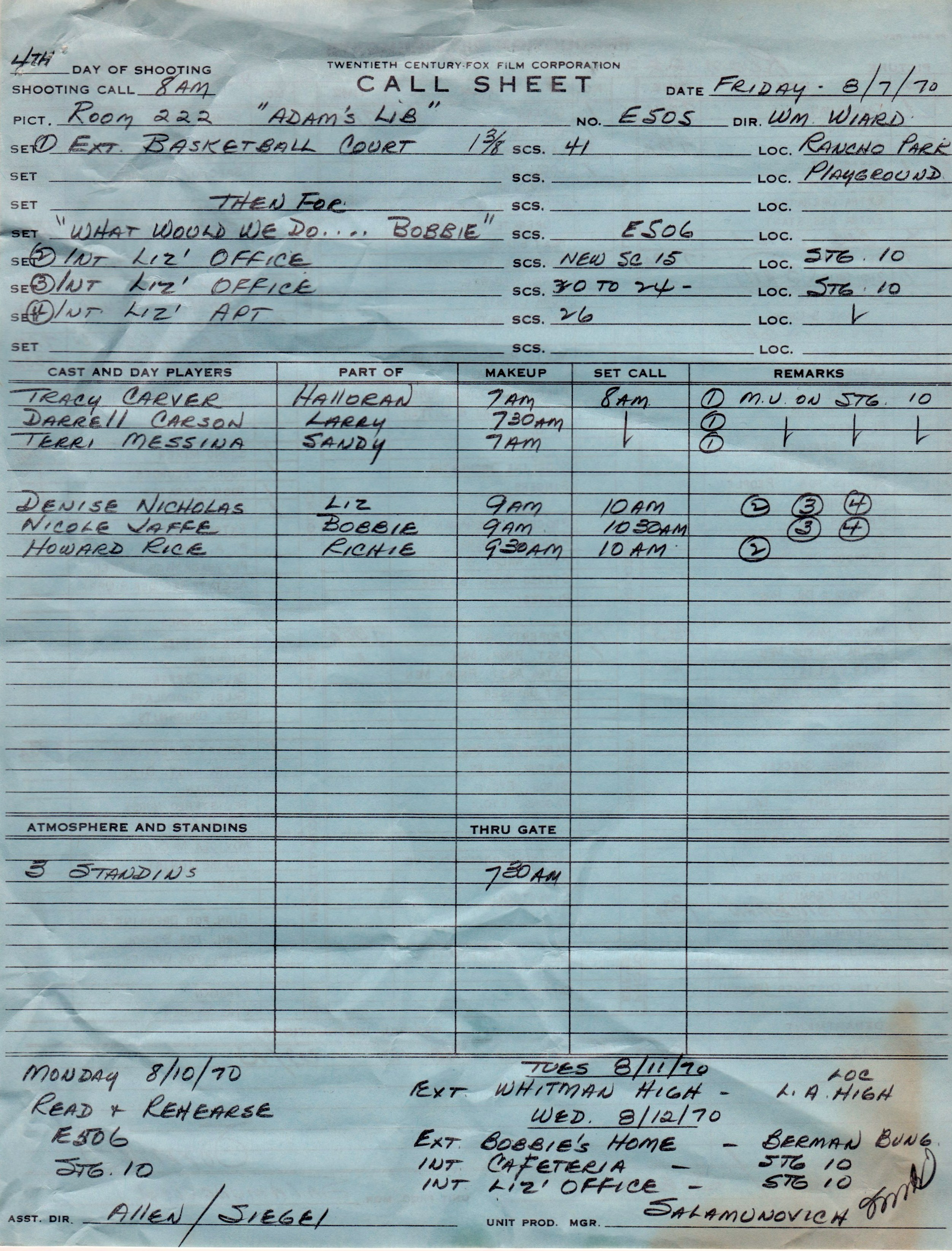 Room 222 Call Sheet: A Day in the Life of a 1970s Sitcom ...