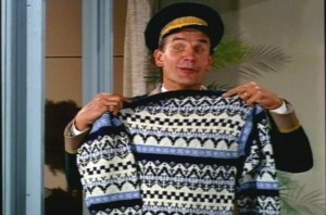 First, Jody gives Scotty the doorman Uncle Bill's favorite skiing sweater. This only earns Jody a commendation for generosity.