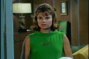 Random fashion note: Cissy looks pretty in her green date dress.