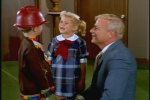 "Uncle Bill decides that giving Jody a hard hat will help ground the boy in reality. Jody is delighted with the gift, and so is Buffy--she hopes it will keep Jody from ""capturing"" Mrs. Beasley during his Indian raids."