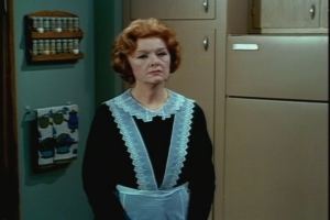 Hmm. that actress playing Adele the maid looks familiar. And those towels and that spice rack look so perfectly '60s.