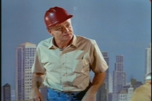Our opening teaser finds Uncle Bill working high above a completely realistic Manhattan skyline.