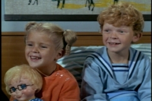 She tells the twins a bedtime story and includes Mrs. Beasley in the story as a friend, not a doll.
