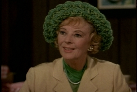 Random fashion observation: When she's not wearing it, Miss Faversham's hat could function as a toilet paper roll cover.