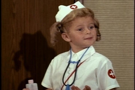 We don't find out where Buffy got this adorable nurse outfit. Halloween costume? I would have loved to have one like it.