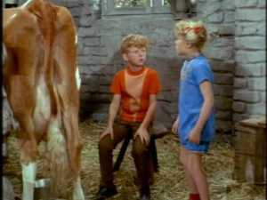 """Hungry and thirsty, they hope to get milk from the cow, but Jody doesn't know 'how to turn it on."""""""