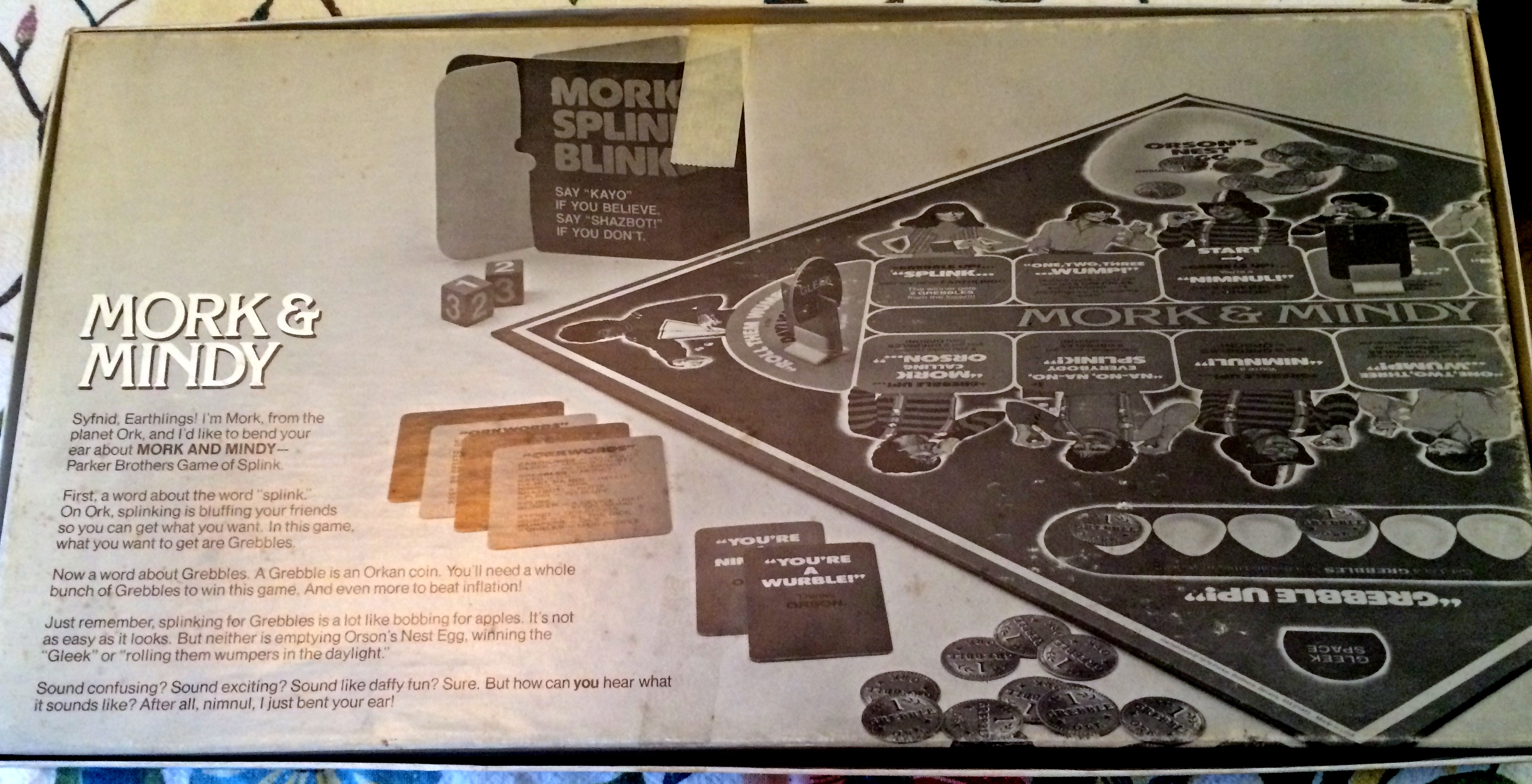 Spin again sunday mork mindy game 1979 embarrassing treasures the back of the box provides and black and white photo of the game ccuart Choice Image