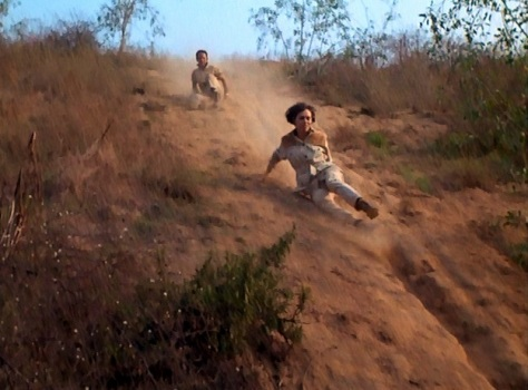 We don't get to see much of 99's fun 1960s fashions in this episode, which she spends mostly in a safari suit as she runs through woods and slides down hills. (Actually, that doesn't look much at all like Barbara Feldon sliding down that hill, does it?)